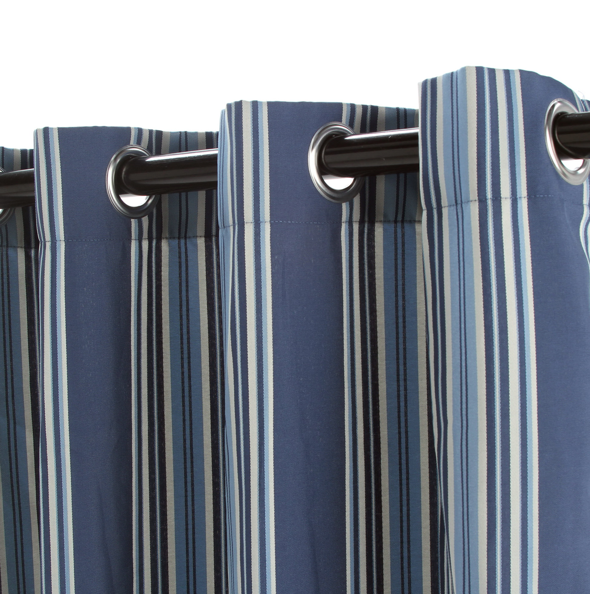 Blue And Brown Striped Curtains