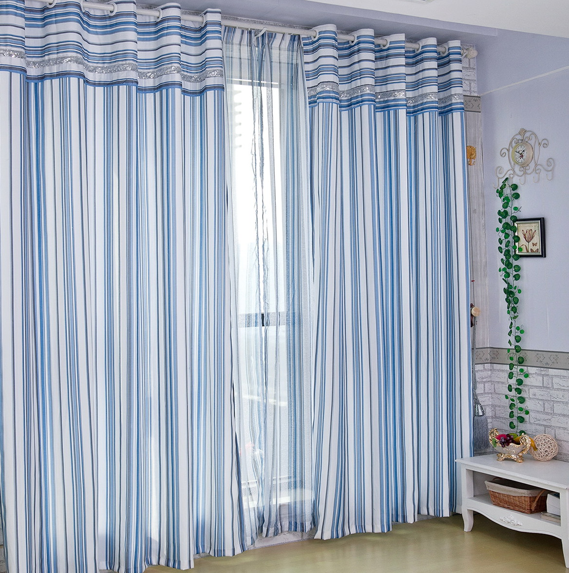 Blue Striped Curtains Bedroom Home Design Ideas