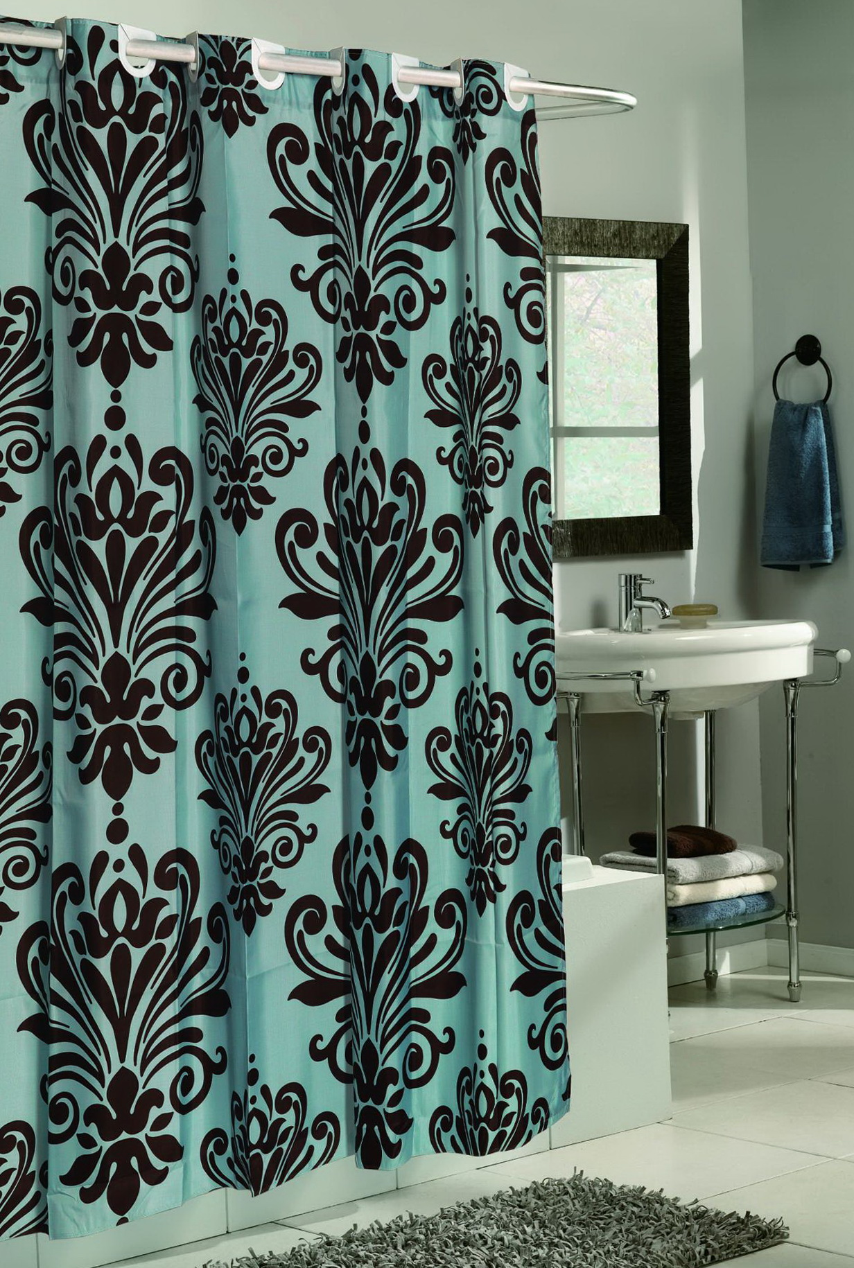 brown and blue shower curtains fabric home design ideas. Black Bedroom Furniture Sets. Home Design Ideas