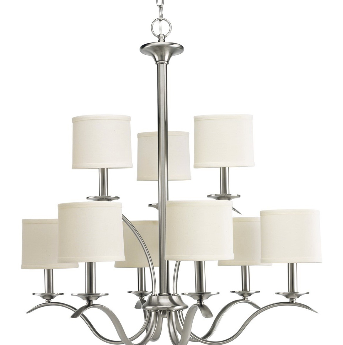 Brushed Nickel Chandelier With Shades