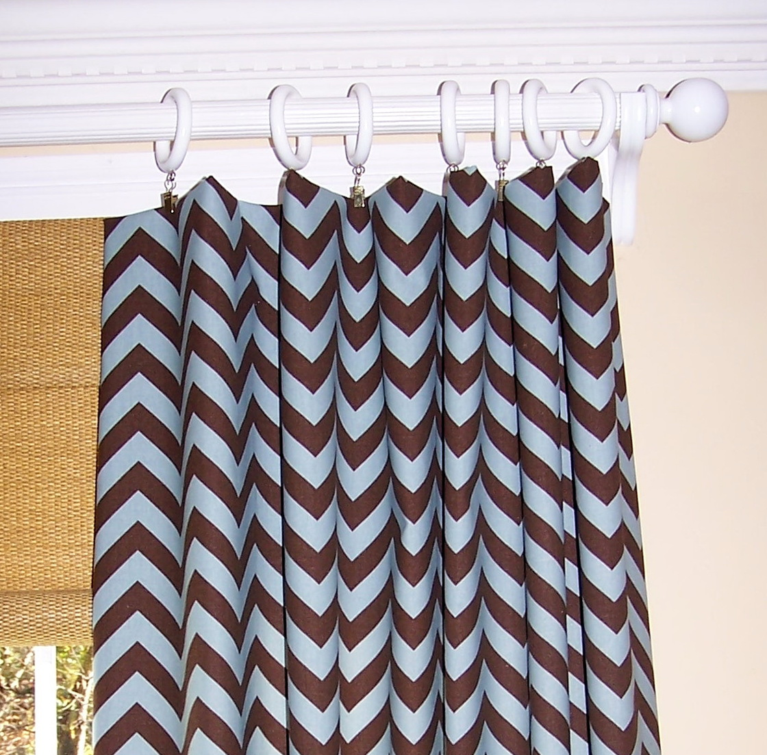 Chocolate Brown And Blue Curtains