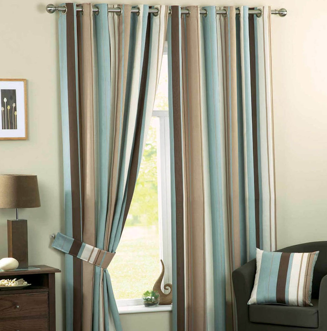Duck Egg Blue And Brown Curtains