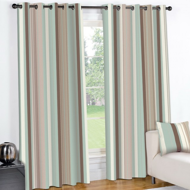 Duck Egg Blue Striped Curtains