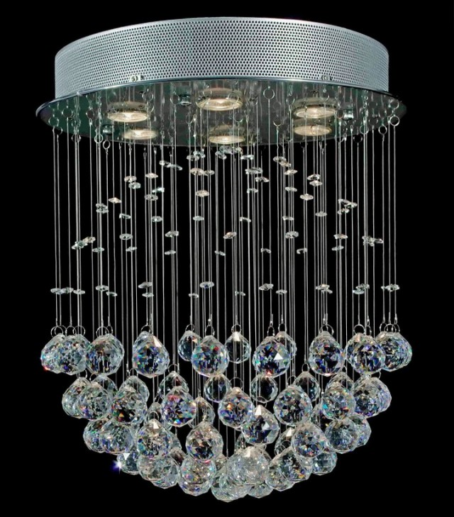 Glass Drop Large Round Chandelier