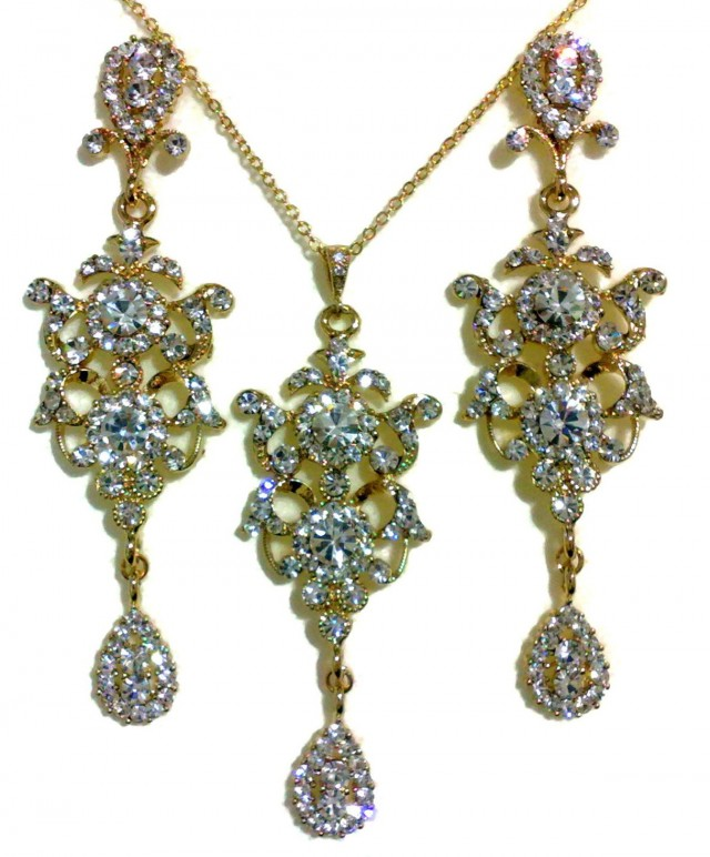 Gold Chandelier Earrings Wedding