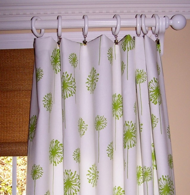 Green And White Curtain Panels