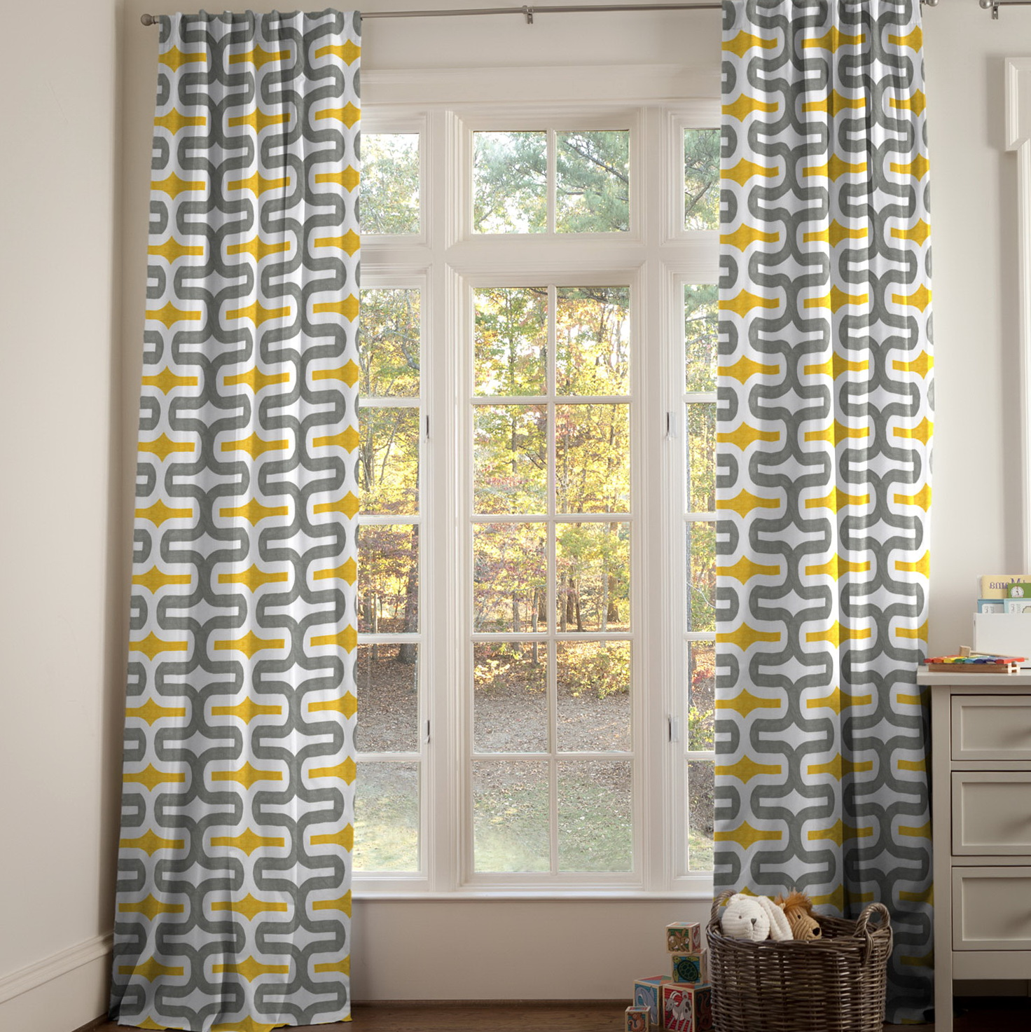 Grey And Yellow Curtain Panels Home Design Ideas