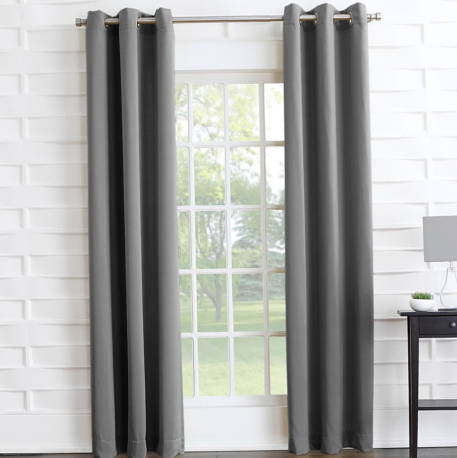 Grey Blackout Curtains Eyelet
