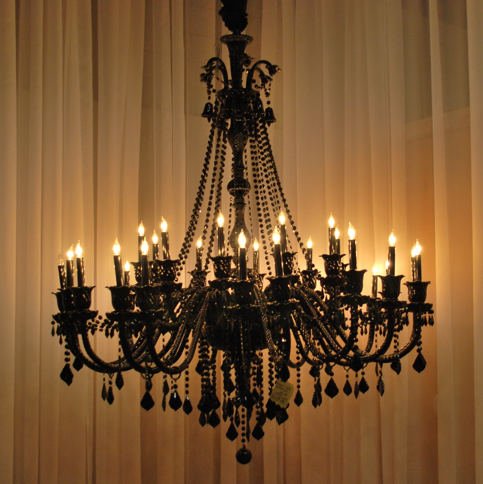 Large Black Crystal Chandelier