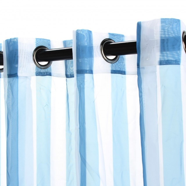 Light Blue Striped Curtains