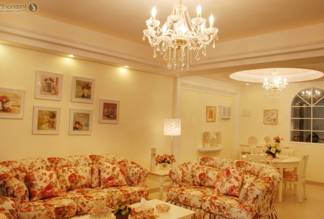 Living Room With Two Chandeliers
