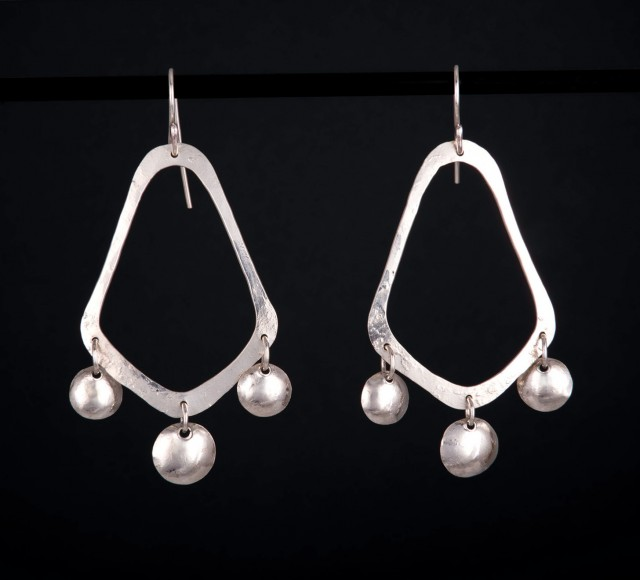 Long Silver Chandelier Earrings