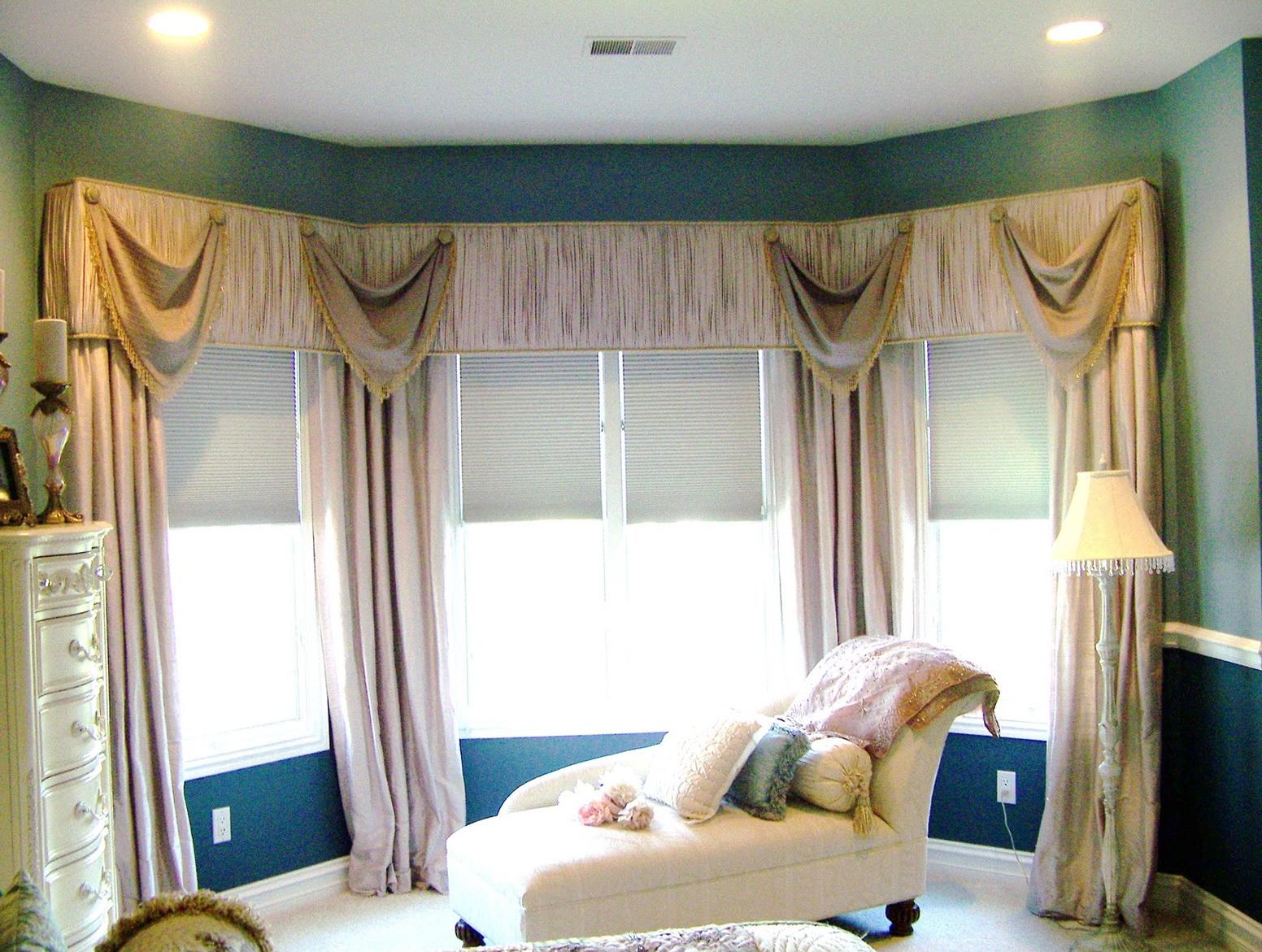 Modern bay window curtain ideas home design ideas for Curtain designs for bay windows