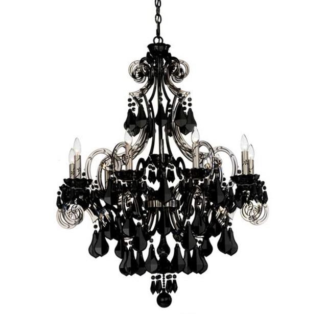 Modern Black Crystal Chandelier