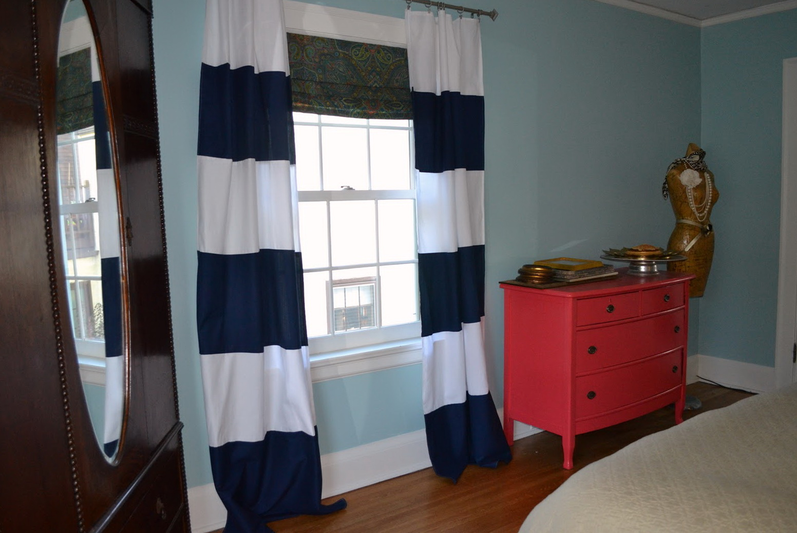 Navy Blue And White Striped Curtains