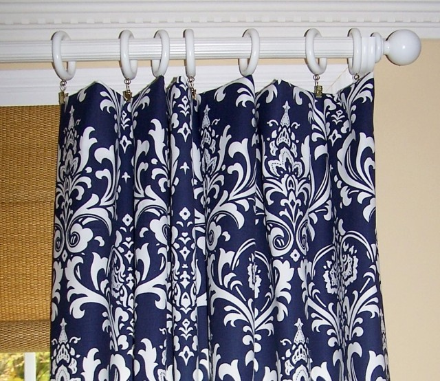 Navy Blue Patterned Curtains