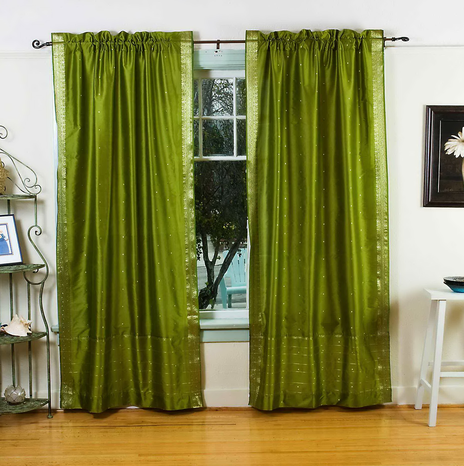 Olive Green Curtain Panels