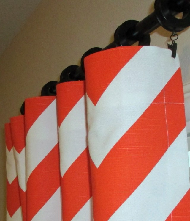 Orange And White Curtain Panels