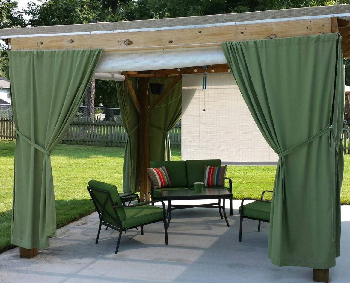 Outdoor Curtain Rod With Post Set Home Design Ideas