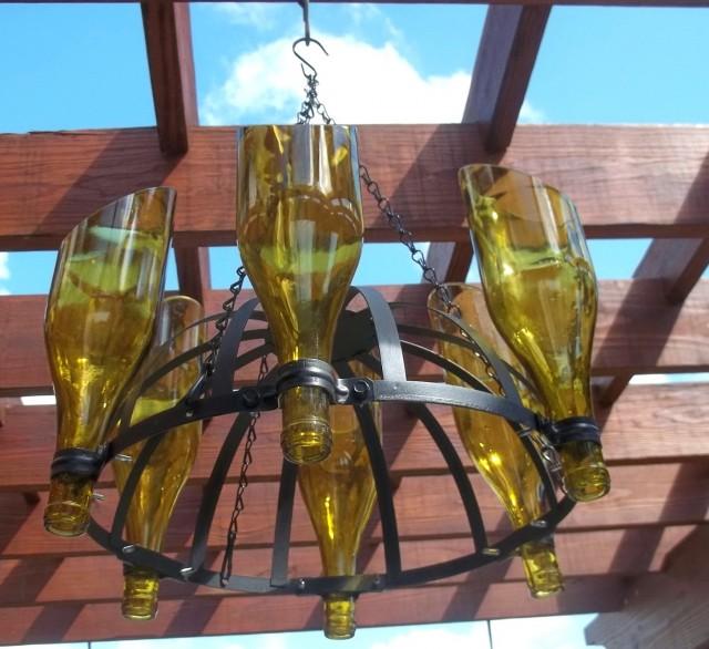 Outdoor Wine Bottle Chandelier