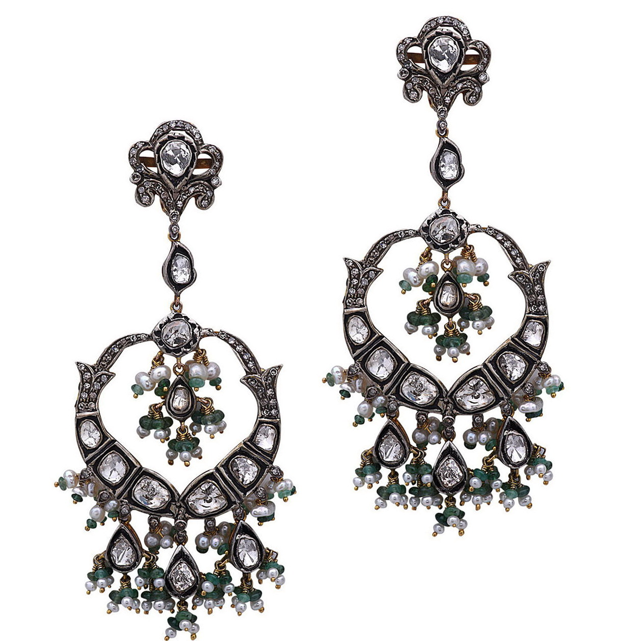 Pearl Diamond Chandelier Earrings