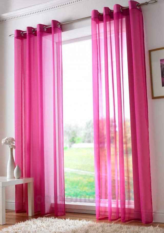 Pink Tie Top Curtains