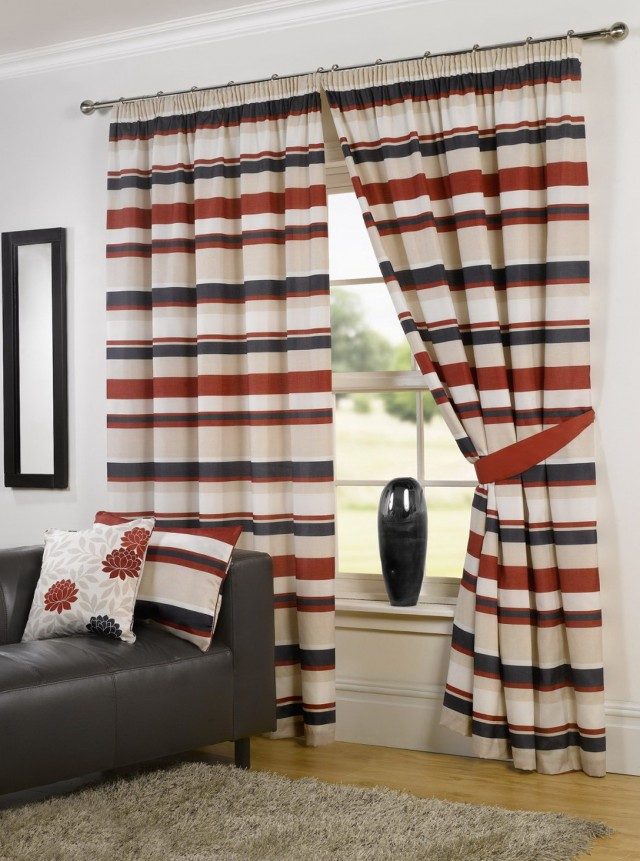 Red And Blue Striped Curtains