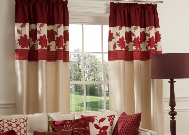 Red And White Curtains For Living Room