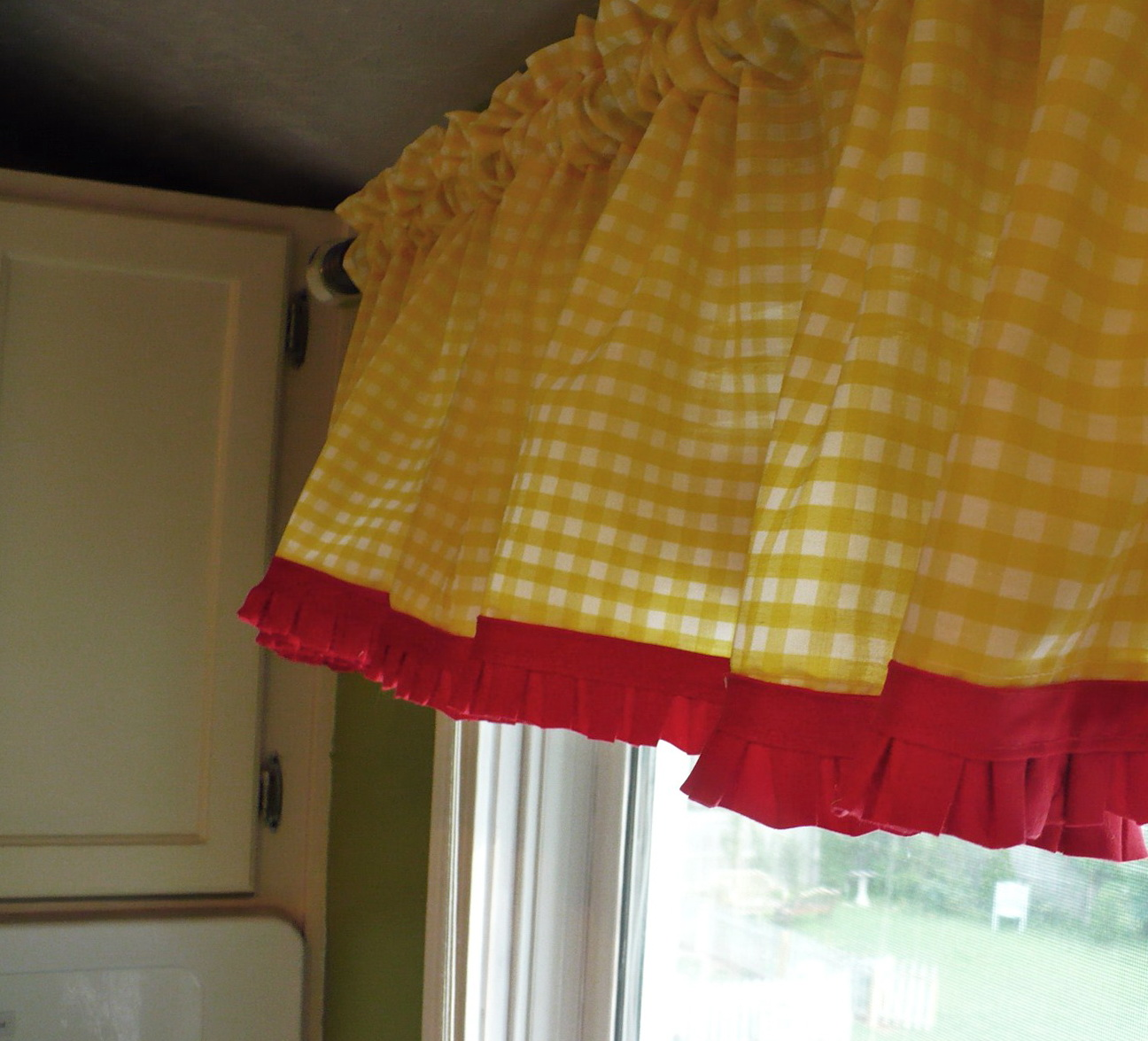 red and yellow curtain panels home design ideas. Black Bedroom Furniture Sets. Home Design Ideas