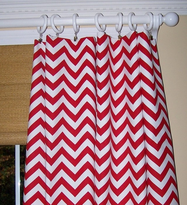 Red Chevron Curtain Panels