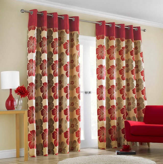 Red Patterned Curtain Panels