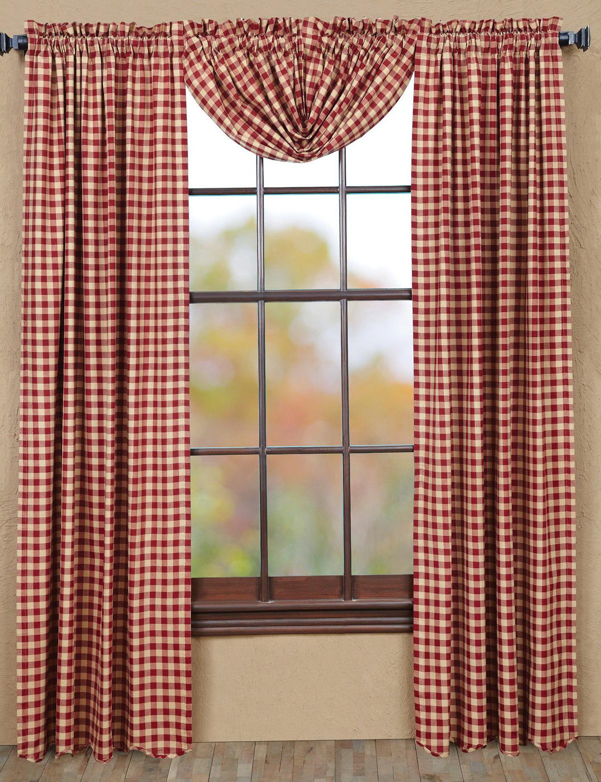 Red Plaid Curtain Panels Home Design Ideas
