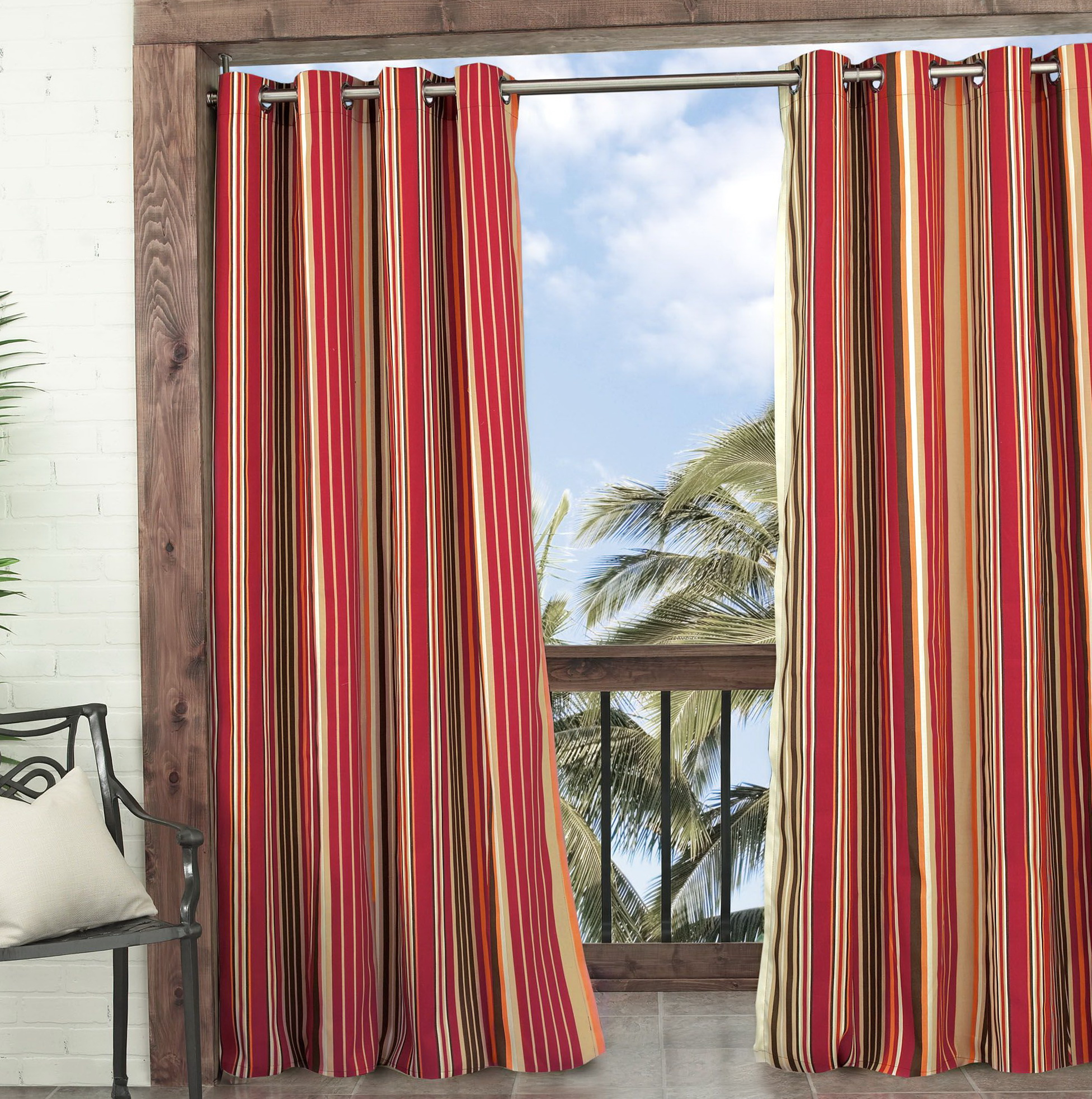 Red Stripe Curtain Panels Home Design Ideas