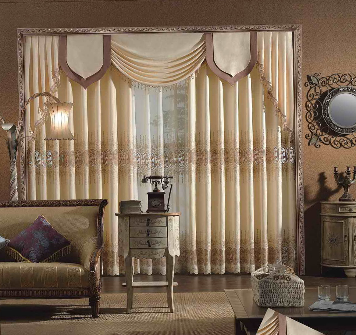 Sheer Embroidered Curtain Fabric