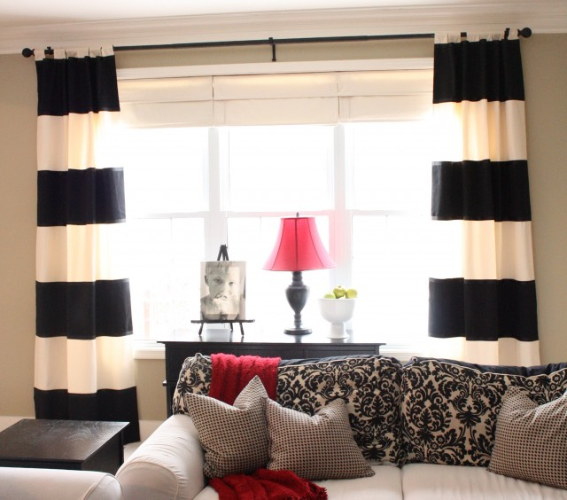 White And Black Curtains For Living Room