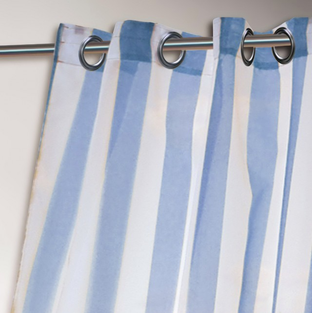 White And Blue Striped Curtains