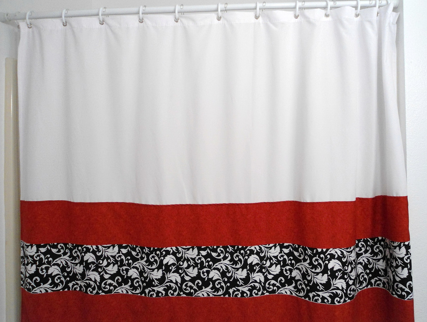White And Red Curtain Panels Home Design Ideas