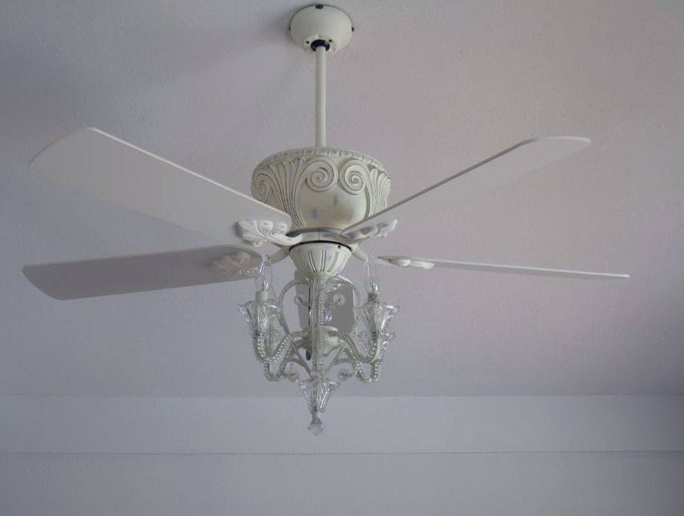 White Crystal Chandelier Ceiling Fan Home Design Ideas