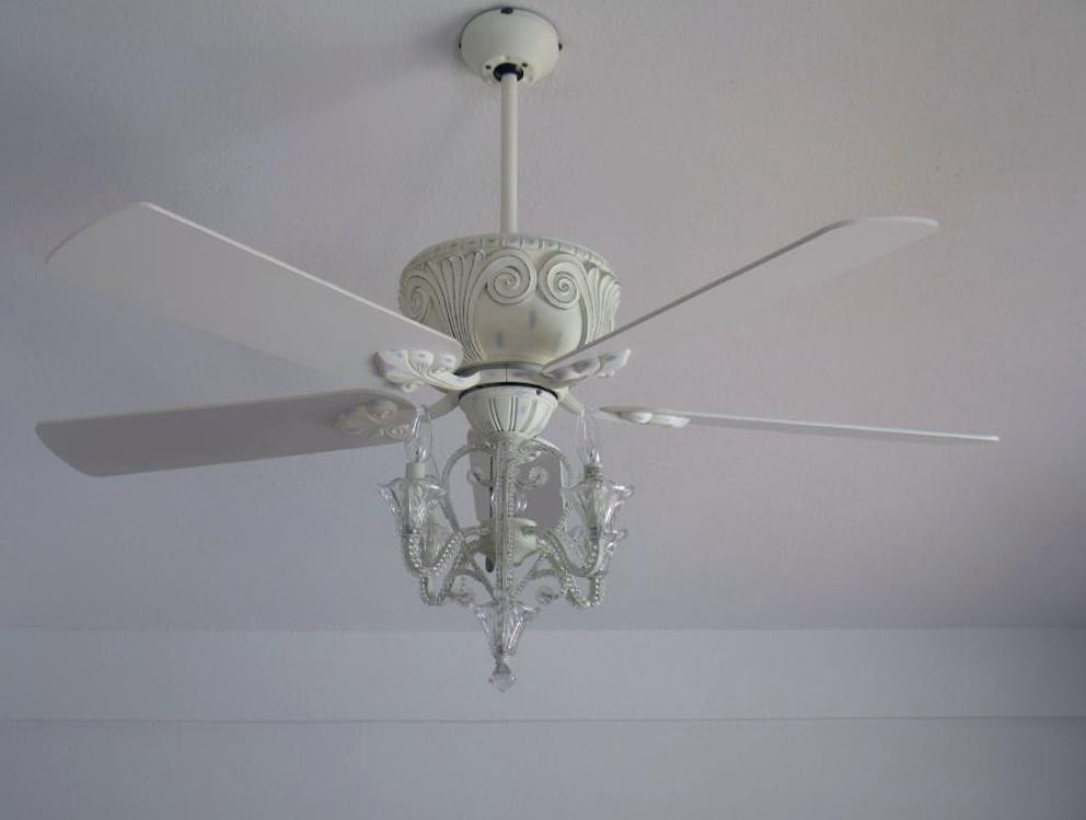 White Crystal Chandelier Ceiling Fan Home Design Ideas
