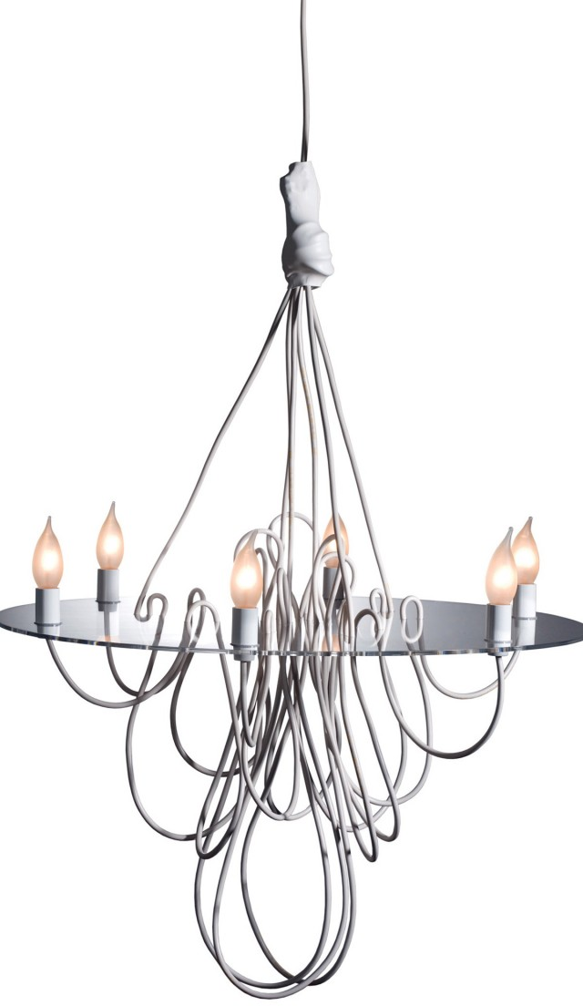 White Glass Chandelier Martha Stewart