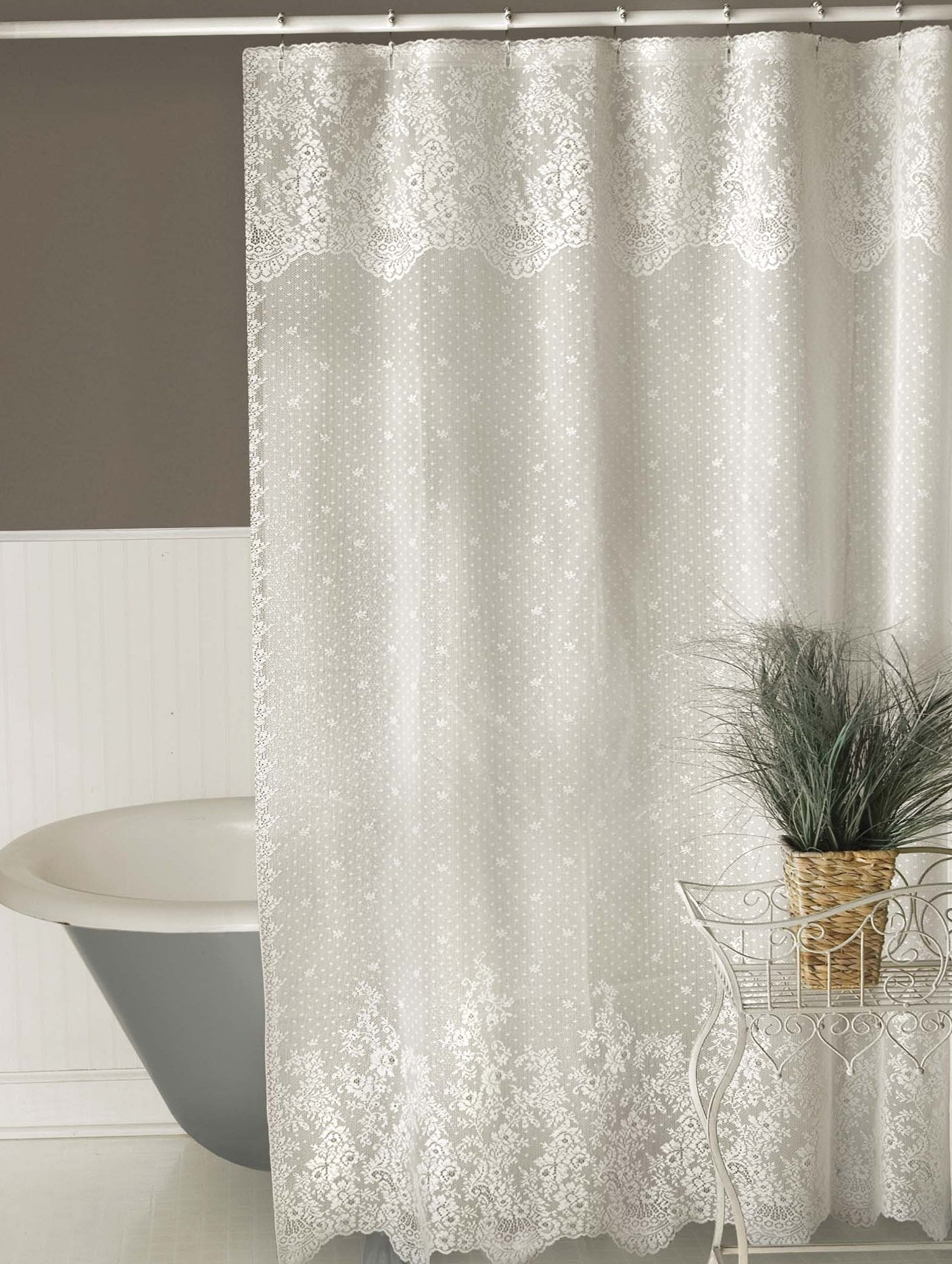 Attirant ... White Lace Shower Curtains ...