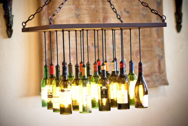 Wine Bottle Chandelier Frame