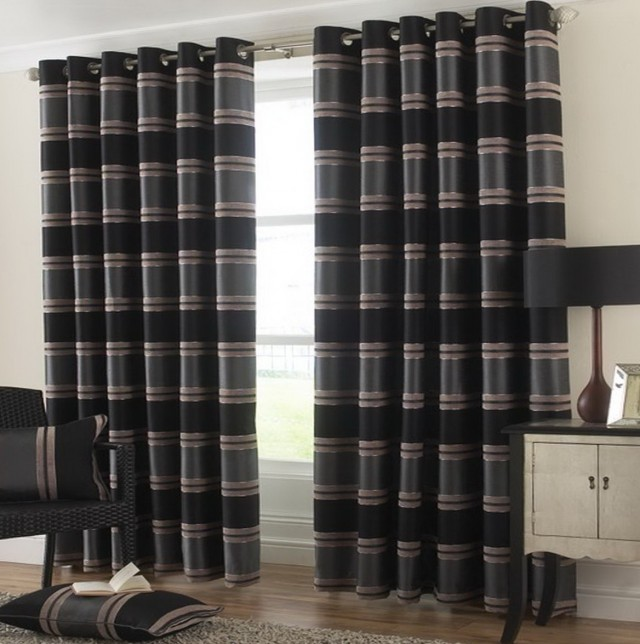 Black And Grey Patterned Curtains