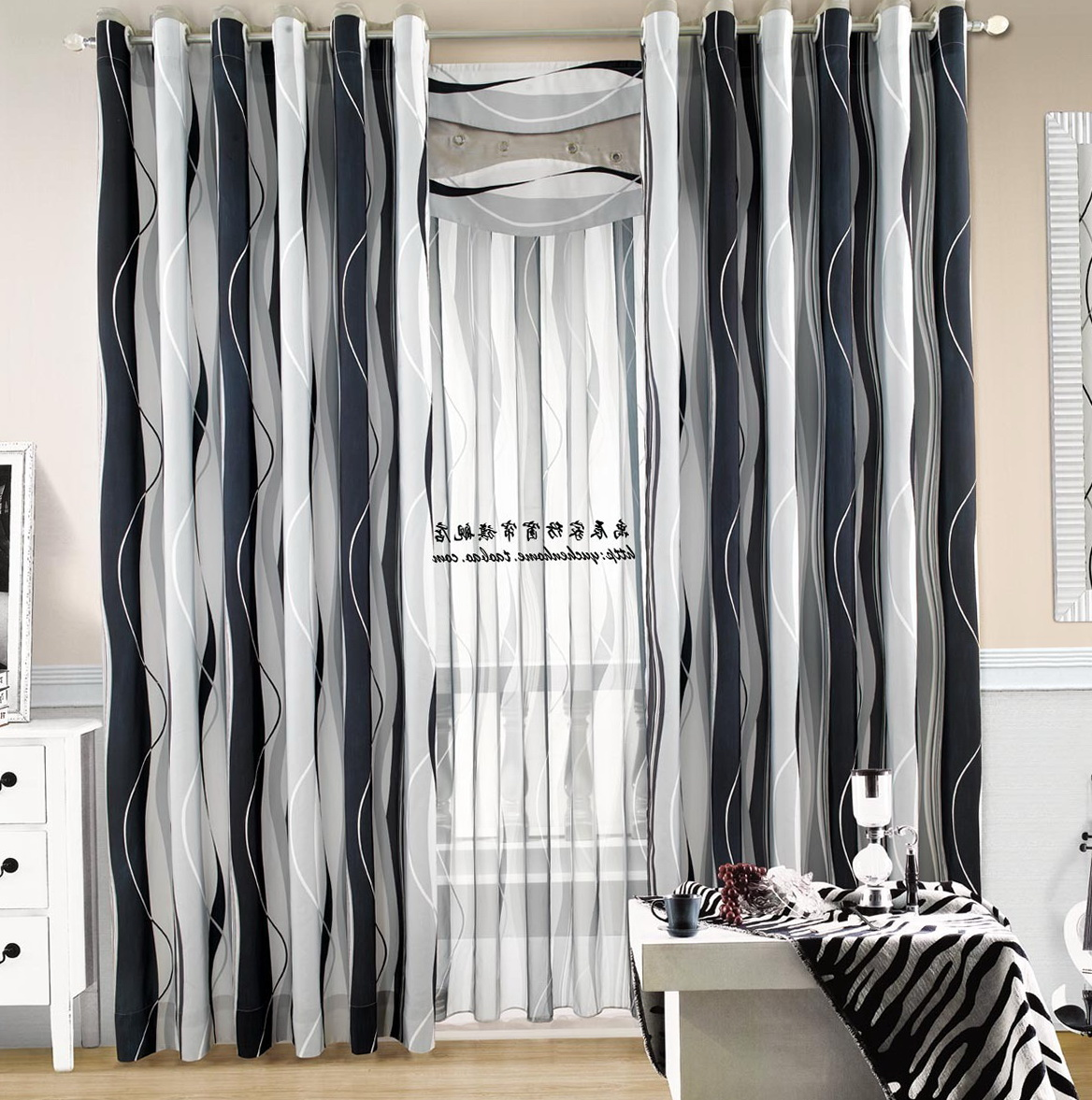 Black And White Striped Curtains Home Design Ideas