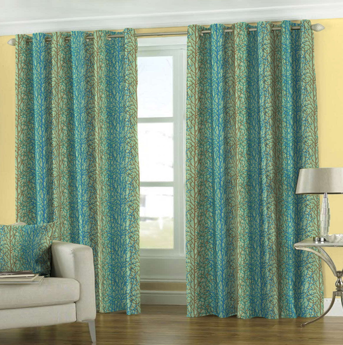 blue and green window curtains home design ideas. Black Bedroom Furniture Sets. Home Design Ideas
