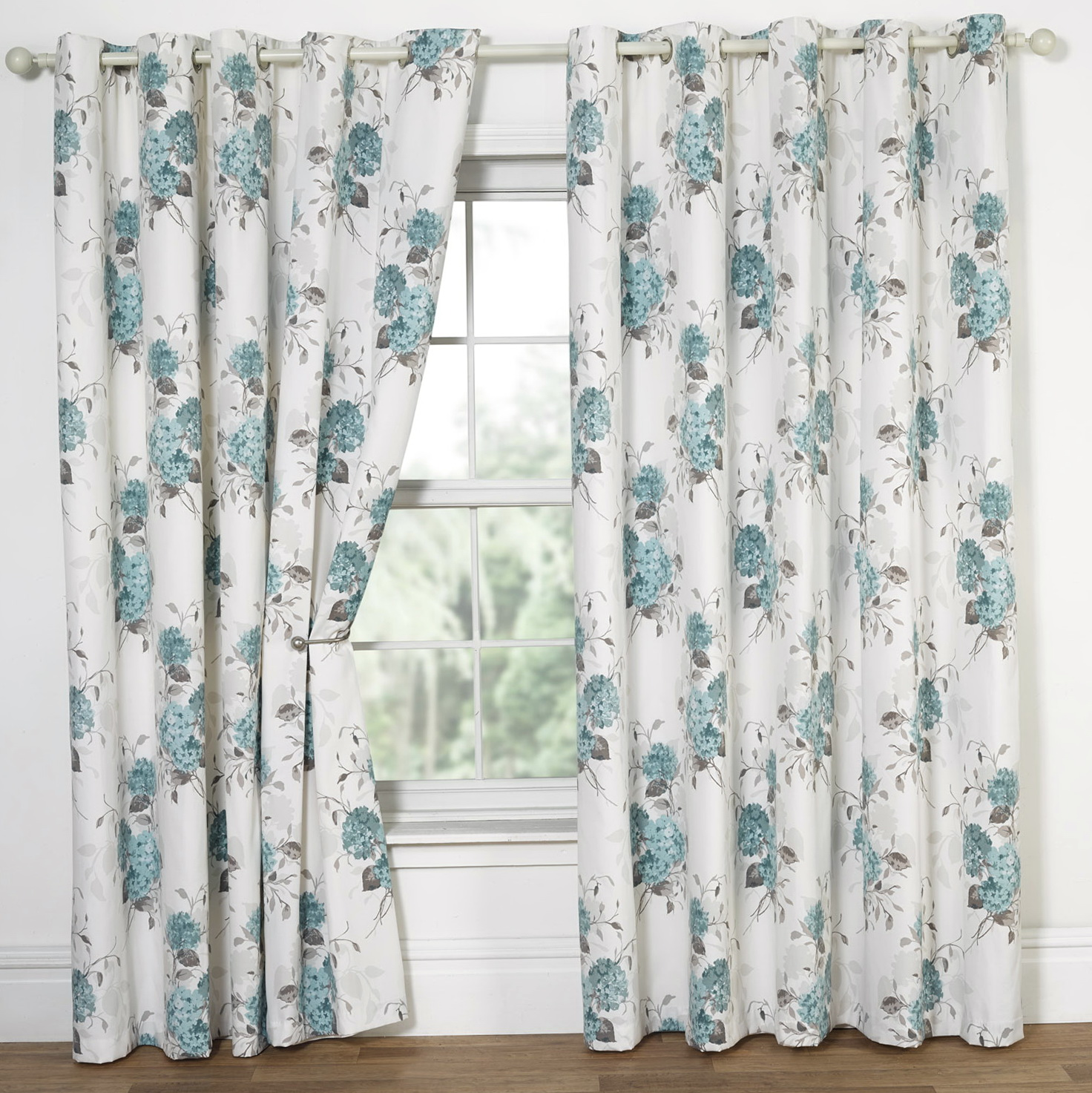 Blue Floral Curtain Panels