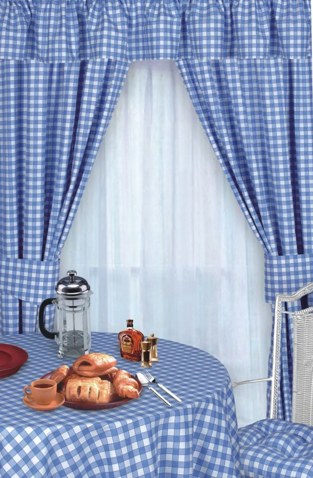 Blue Plaid Country Curtains