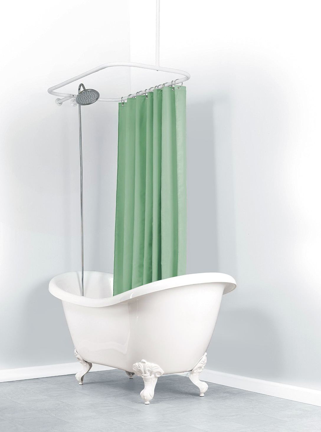 Ceiling Mount Shower Curtain Rod Clawfoot Tub  Home Design Ideas