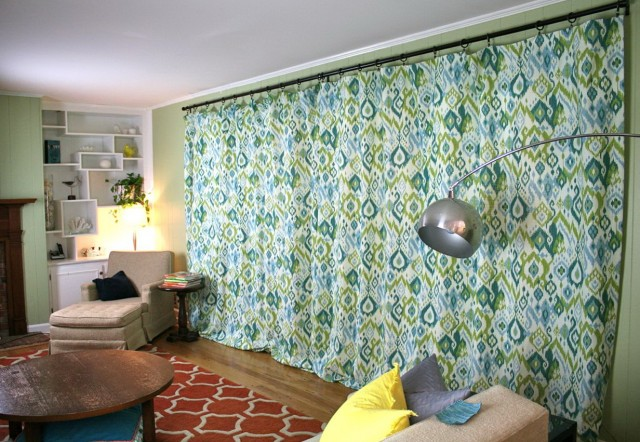Dark Green Floral Curtains