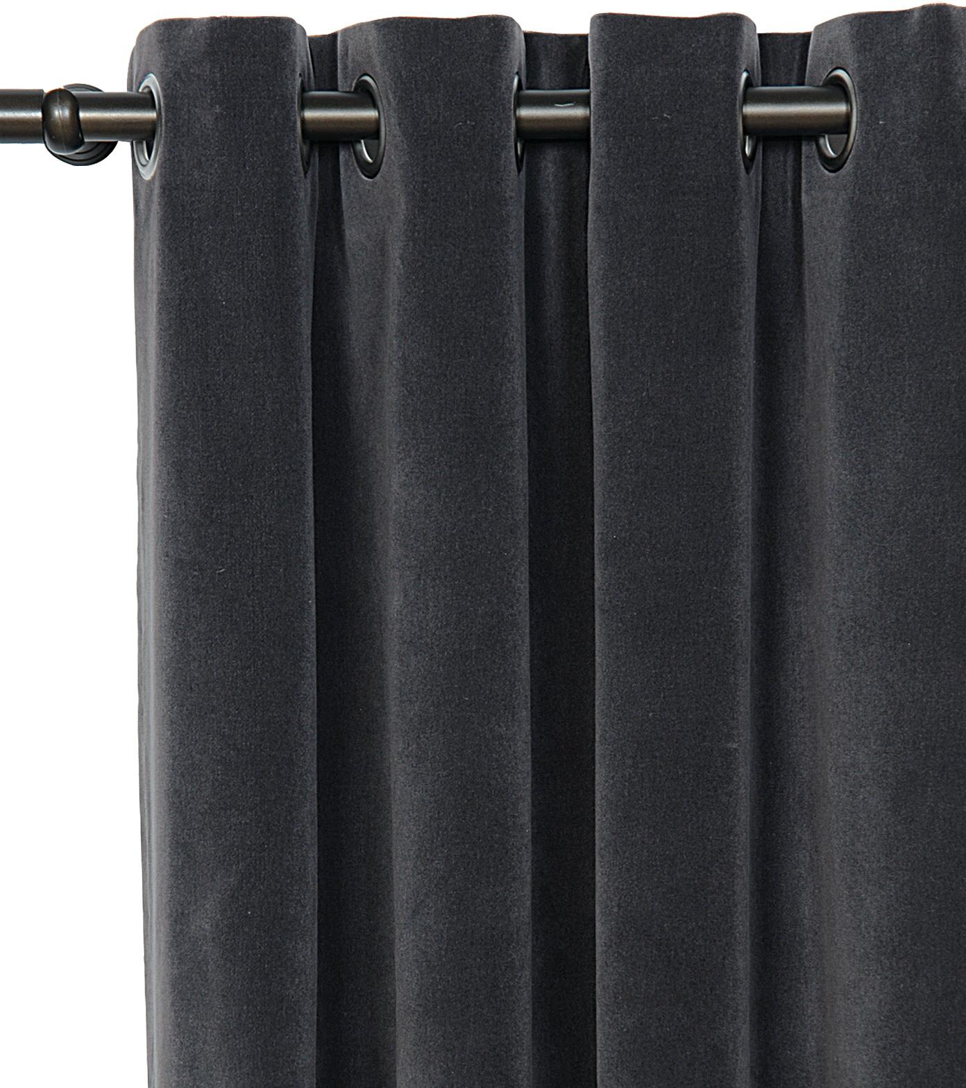 Dark Grey Velvet Curtains